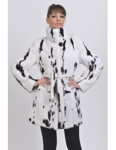 White and black mink coat -...