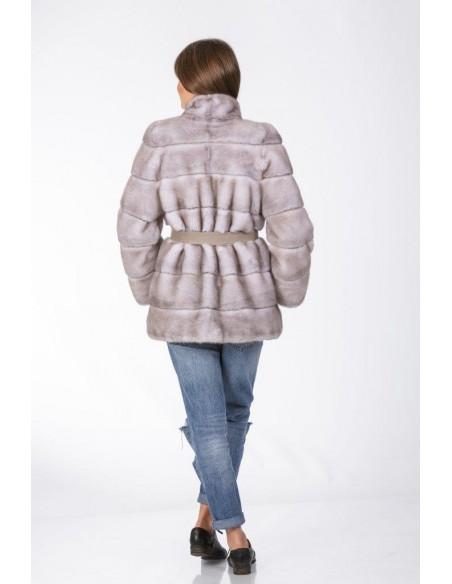 short grey mink coat with grey  leather belt back side