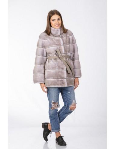 short grey mink coat with grey  leather belt front side