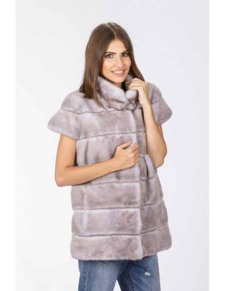 grey mink jacket with short sleeves front side