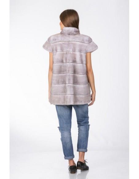 grey mink jacket with short sleeves back side
