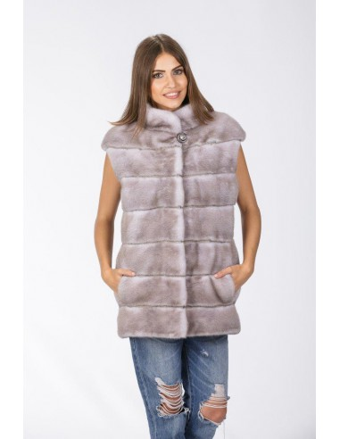 grey mink vest front side