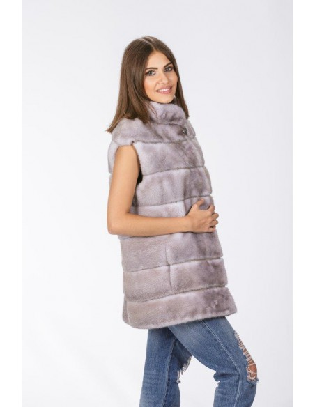 grey mink vest right side