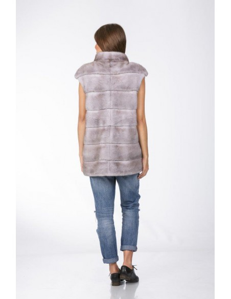 grey mink vest back side