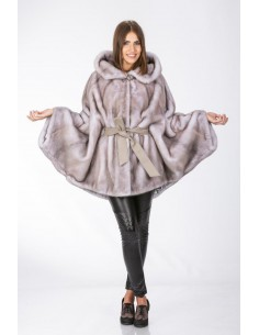 Oversized short mink coat with hood and grey leather belt front side