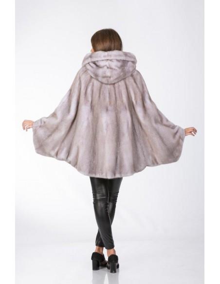 Oversized short mink coat with hood and grey leather belt back side