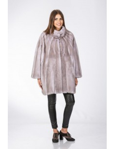 Oversized grey mink coat front side