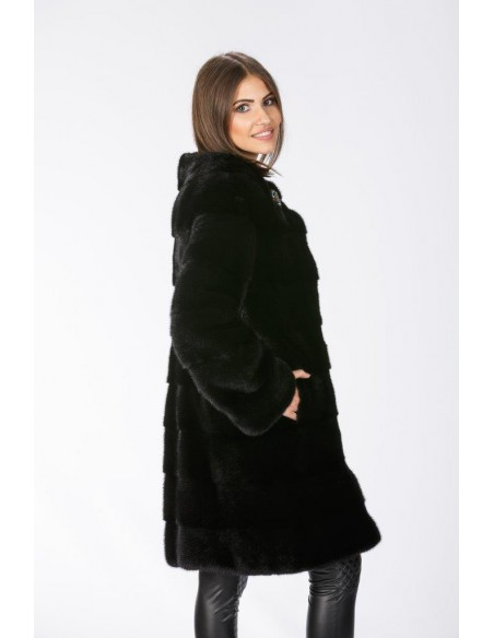 Black mink coat without collar right side