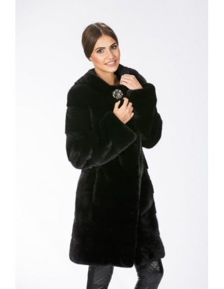 Black mink coat without collar front side