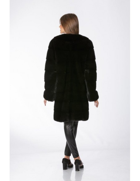 Black mink coat without collar back side