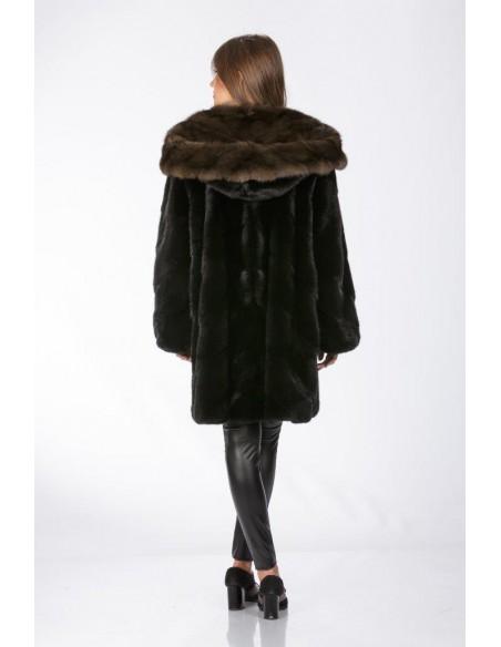 Black mink fur coat with brown sable hood back side