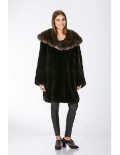 Black mink fur coat with brown sable hood front side