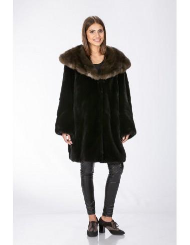 Black mink fur coat with brown sable hood front side