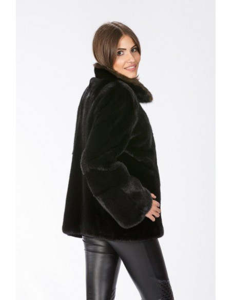Black mink jacket with brown sable collar right side