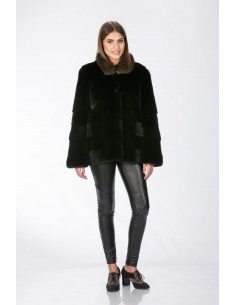 Black mink jacket with brown sable collar front side