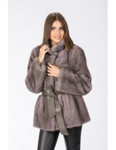Short silver blue mink coat front side
