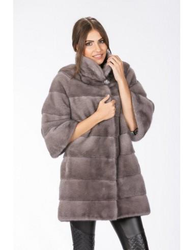 Short silver blue mink coat with 3/4 sleeves front side