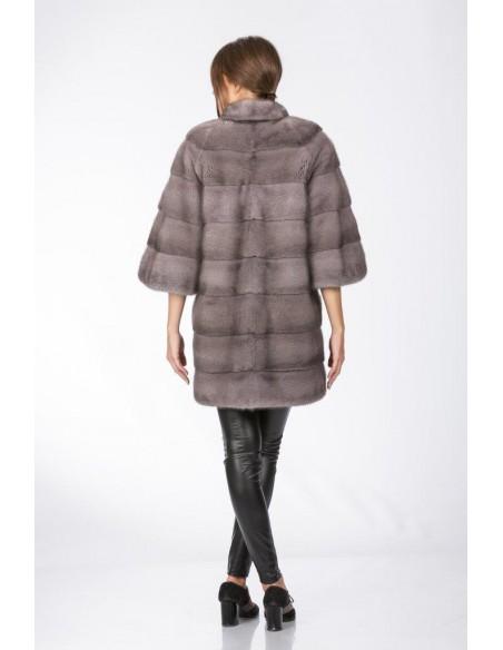 Short silver blue mink coat with 3/4 sleeves back side