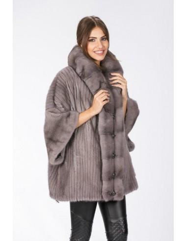 Oversized silver blue short coat front side