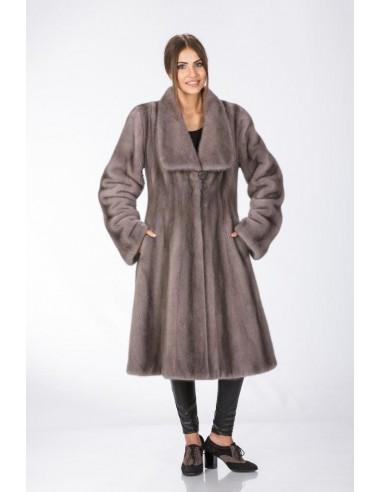 Long silver blue mink coat front side