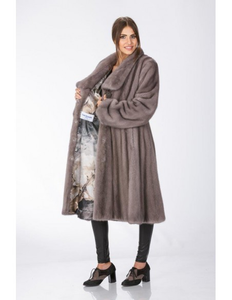 Open long silver blue mink coat left sidevwith