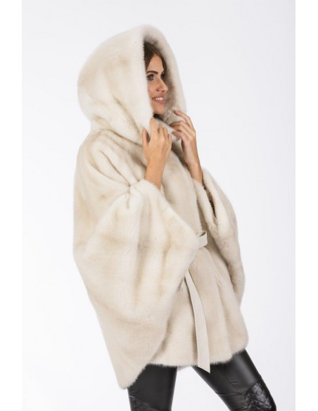 Oversized pearl white mink coat with hood right side