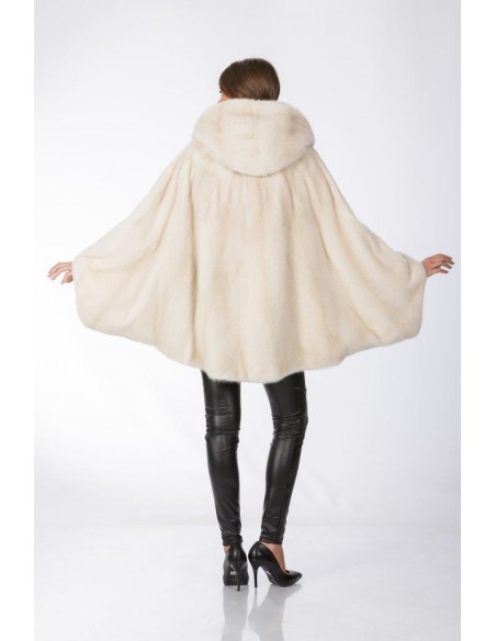 Oversized pearl white mink coat with hood back side