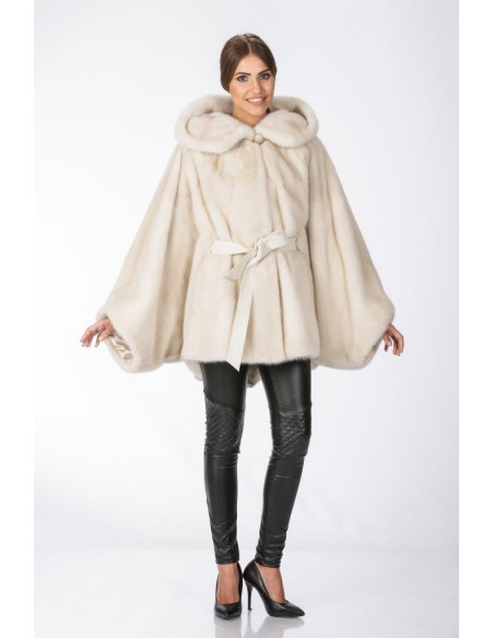 Oversized pearl white mink coat with hood front side