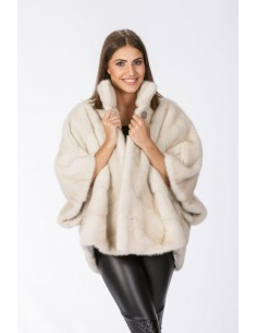 Pearl white mink jacket with 3/4 sleeves front side