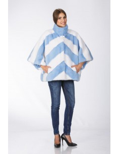 Light blue and white mink jacket with 3/4 sleeves front side