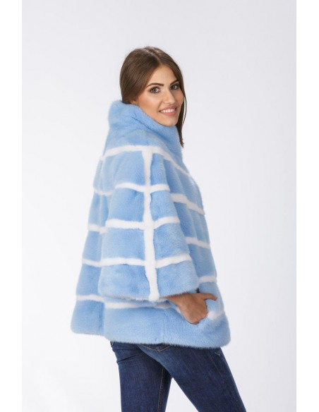 Short light blue mink coat with 3/4 length sleeves right side