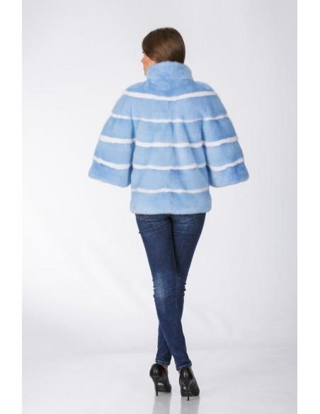 Short light blue mink coat with 3/4 length sleeves back side