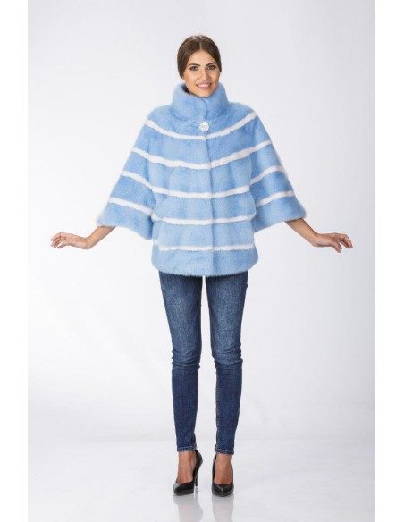 Short light blue mink coat with 3/4 length sleeves front side