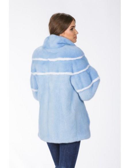Short light blue mink coat with white stripes back side