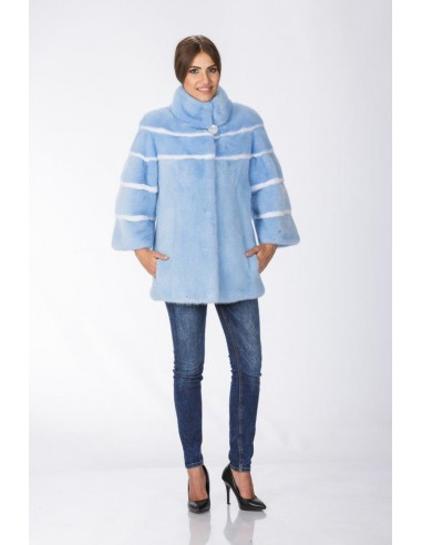Short light blue mink coat with white stripes front side
