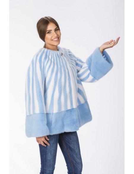 Light blue and white mink jacket front side