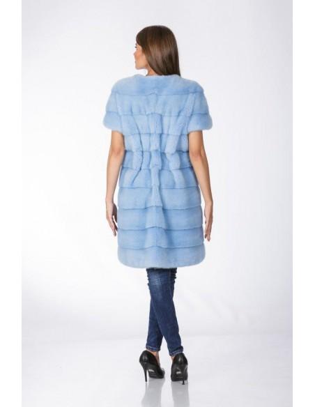 Light blue mink coat with short sleeves and leather belt back side