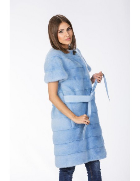 Light blue mink coat with short sleeves and leather belt right side