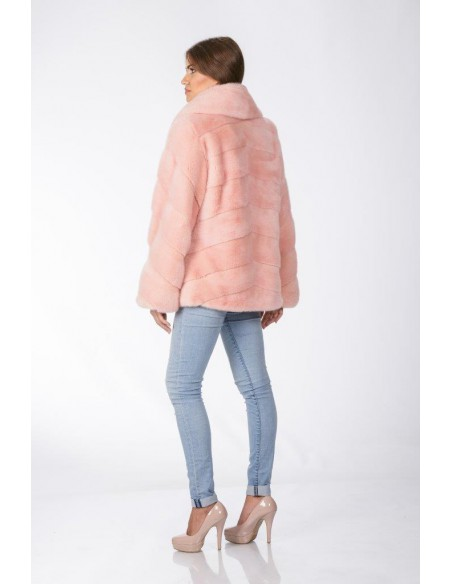Pink mink jacket with low fur collar back side