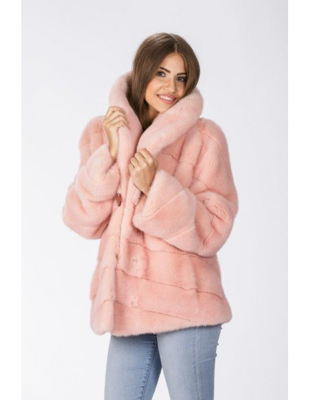 Pink mink jacket with low fur collar front side