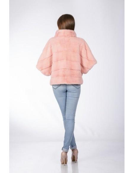Pink mink jacket with high fur collar back side