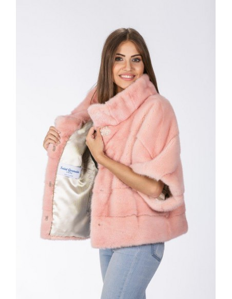 Pink mink jacket with high fur collar front side