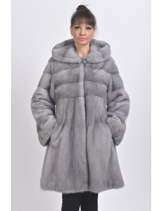 blue grey mink coat with fur hood front side