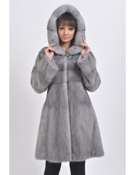 blue grey mink coat with fur hood front side