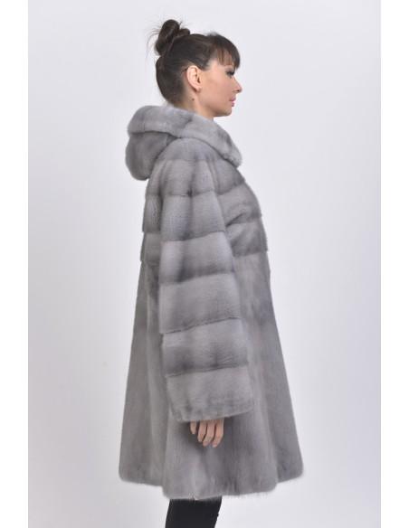 blue grey mink coat with fur hood back side