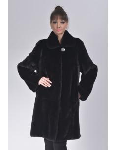 black mink fur coat front side