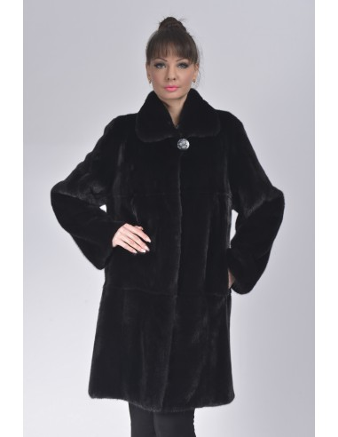 black mink fur coat front side