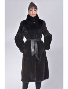 black mink coat with black leather belt and high collar front side