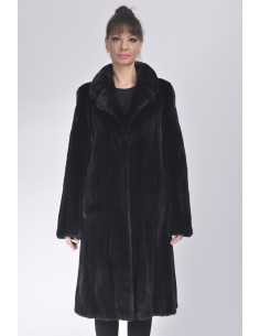 Black mink coat with low fur collar front side