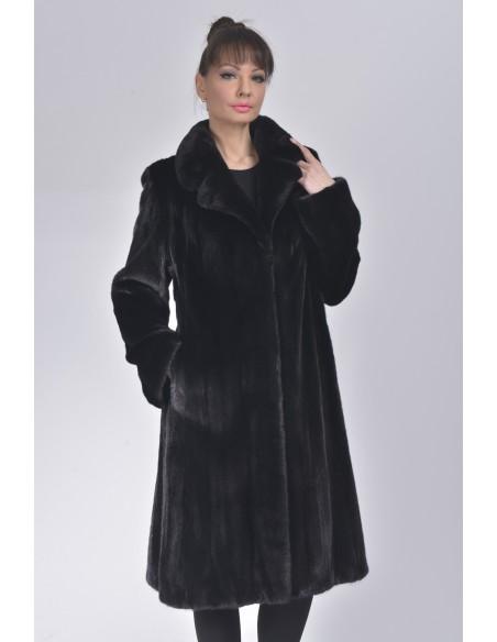 Black mink coat with low fur collar front side